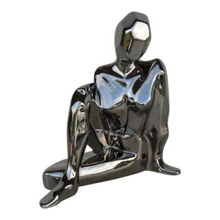 Mid-Century Modern Silver Jaru Cubist Nude Sitting Female Sculpture For Sale