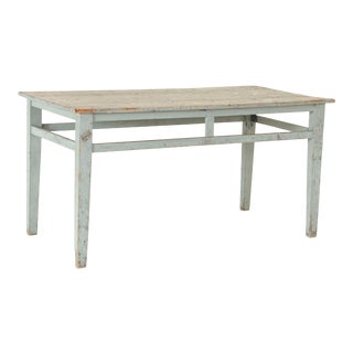 Late 19th Century Antique Original Blue Painted Work Table From Sweden For Sale