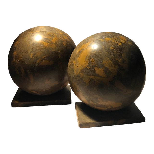 Heavy Marble Large Deco Style Bookends Vintage - A Pair For Sale