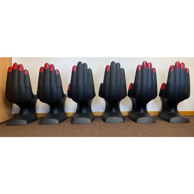 Plastic 1990s Vintage European Touch Black Hand Chairs - Set of 6 For Sale - Image 7 of 12