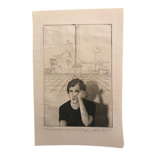This Moment Yearning and Thoughtful Etching by Boyle 1979 For Sale