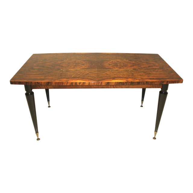 1940s French Art Deco Exotic Burl Walnut Writing Desk / Dining Table For Sale