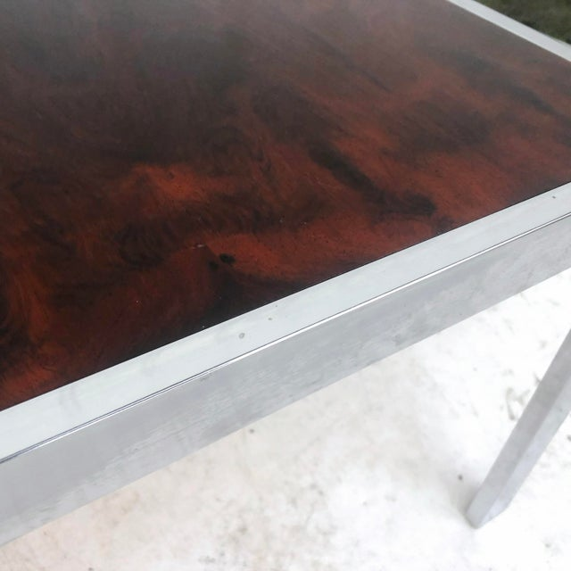 Vintage Modern Rosewood and Chrome Coffee Table For Sale - Image 10 of 13