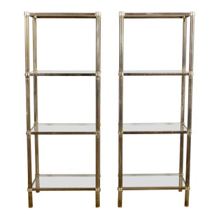 20th Century Hollywood Regency Brass and Glass Etagere Display Shelves - a Pair For Sale