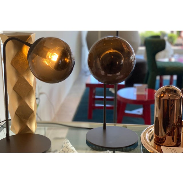 Contemporary Roll & Hill Oil Rubbed Bronze With Smoke Glass Shade Table Lamp For Sale - Image 3 of 5