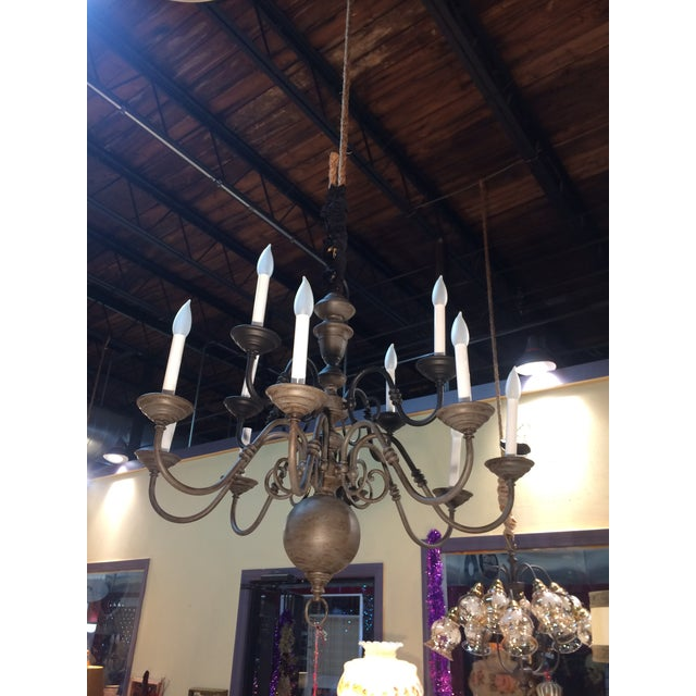 11 Arms Brass Vintage Chandelier. Re-finished in grey and black. Sealed and black antique waxed. Stunningly beautiful and...