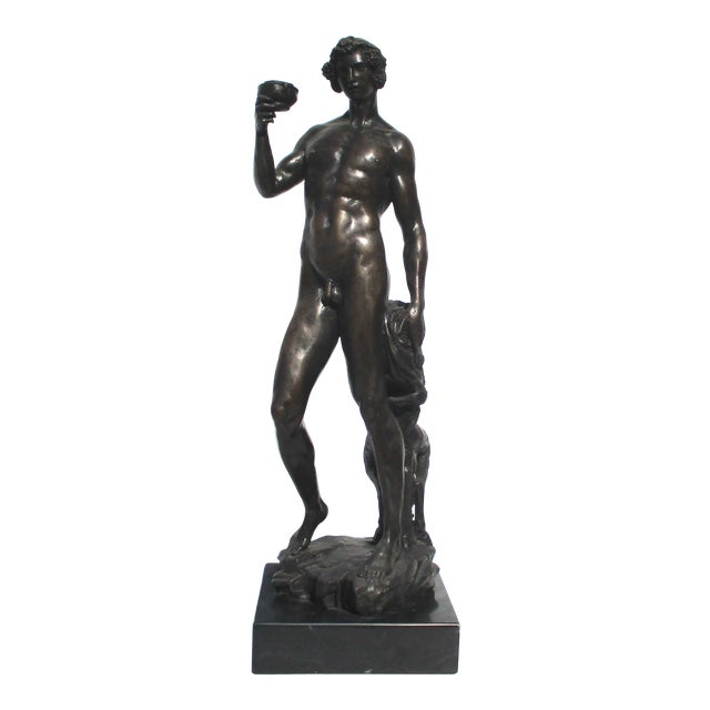 Bronze Bacchus and Fawn Sculpture For Sale