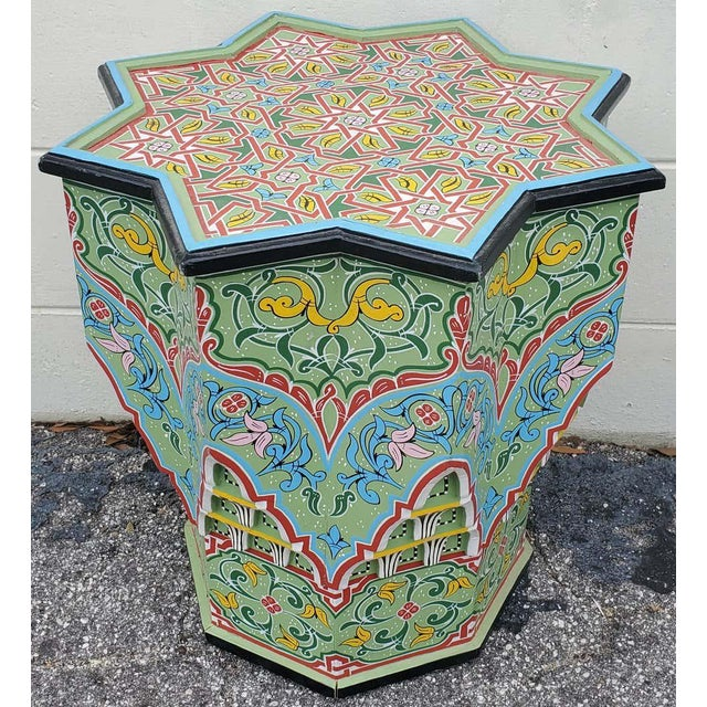 Wood Moroccan Lg Ceuta 3 Painted and Carved Star Table, Multi-Color For Sale - Image 7 of 8