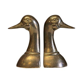 Brass Mallard Bookends