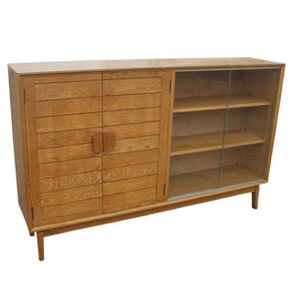 Mid Century Oak China Display Cabinet For Sale