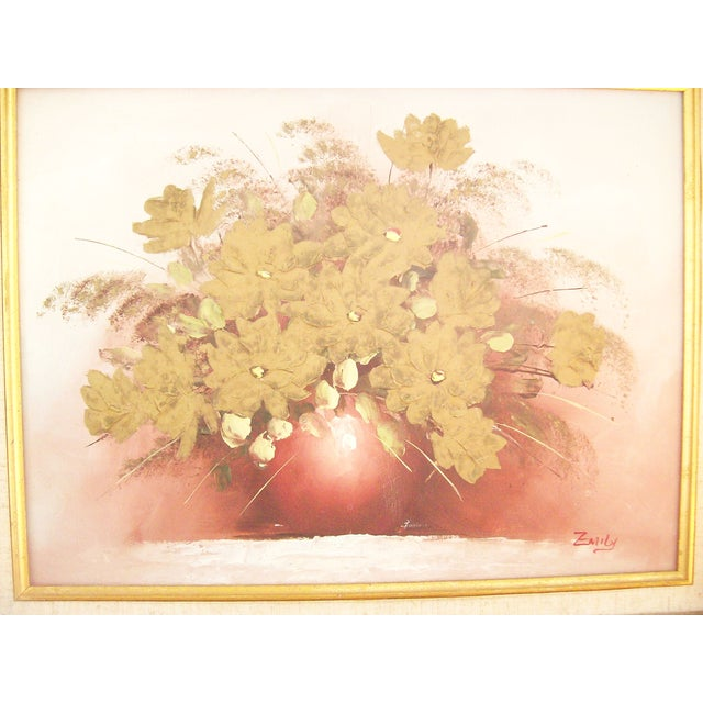 Original Floral Painting with Gold Bamboo Frame - Image 5 of 7