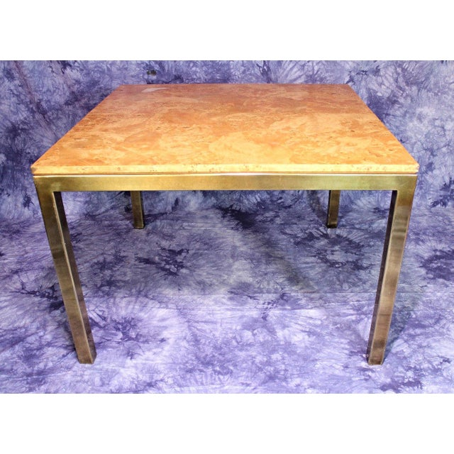 Milo Baughman Style Burled Wood & Brass Square Dining Table For Sale In New York - Image 6 of 10