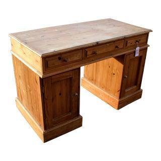 English Pine Kneehole Partner Desk For Sale