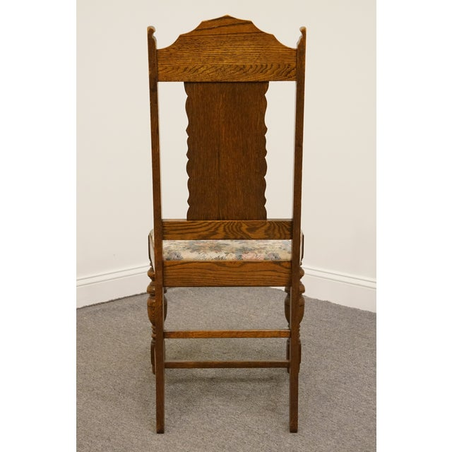 1920's Antique Vintage Gothic Revival Jacobean Dining Side Chair For Sale In Kansas City - Image 6 of 9