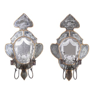 Antique Venetian Mirrored Wall Sconces - A Pair For Sale
