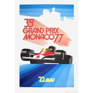 1990 Roland Hugon 'Monaco Grand Prix 1977' Vintage Blue,Red France Lithograph For Sale