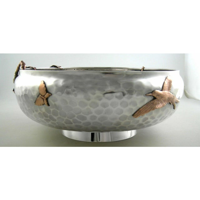 Aesthetic Movement Sterling Gorham Mixed Metal Footed Bowl For Sale - Image 3 of 8