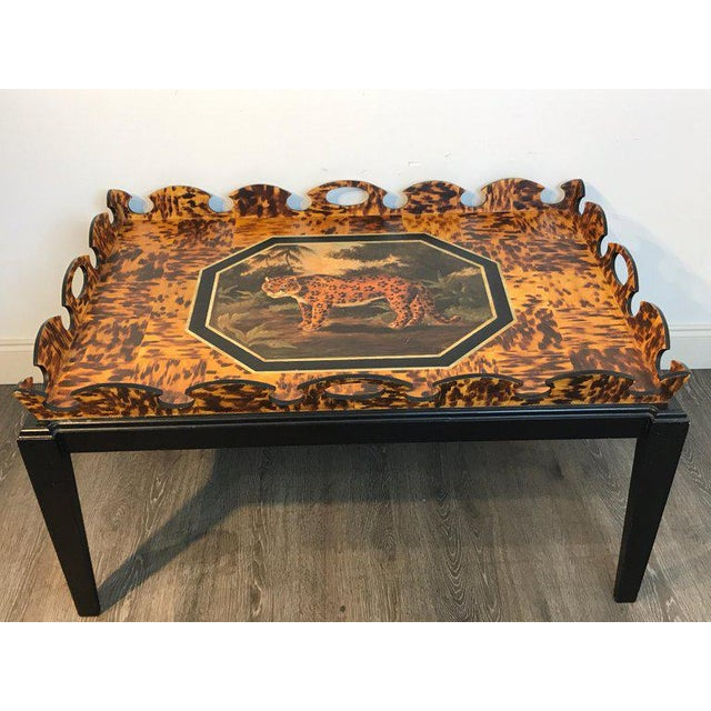 Regency Style Tortoiseshell & Jaguar Motif Coffee Table by William Skilling For Sale - Image 4 of 11