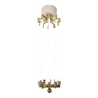 1940s German Brass Chandelier by Kaiser & Co. For Sale