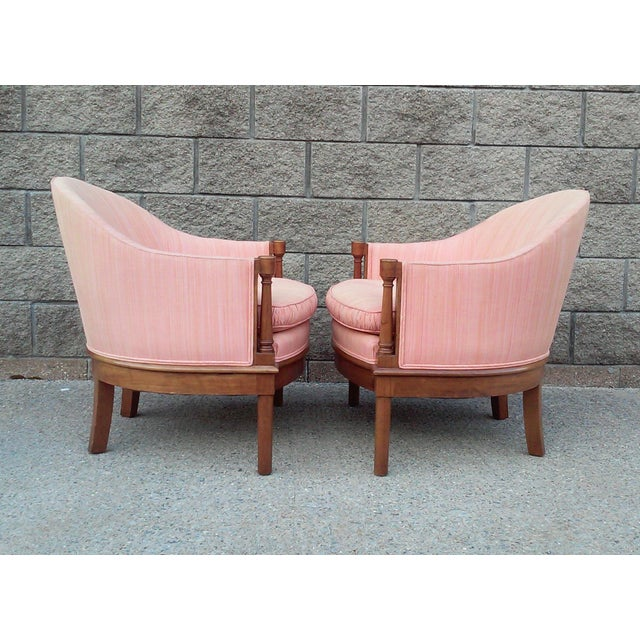 Salmon Dupioni Silk Tub Chairs-A Pair For Sale In Detroit - Image 6 of 7