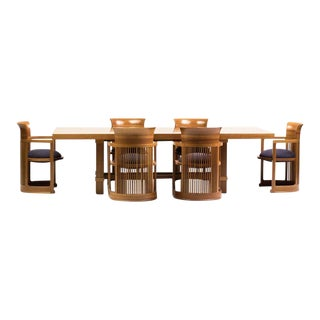 Cassina Taliesin Dining Table and Barrel Chairs Designed by Frank Lloyd Wright For Sale