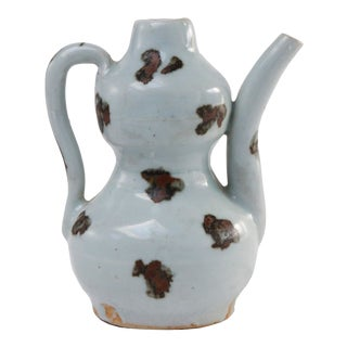 Chinese Qingbai Yuan Dynasty Gourd-Shaped Spotted Ewer For Sale