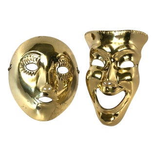 1970s Contemporary Solid Brass Decorative Theater Masks - a Pair For Sale
