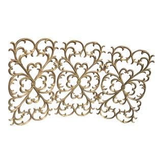 Antique French Gold Leaf Design Adjustable Fireplace Screen For Sale