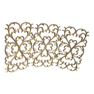 French Gold Leaf Design Adjustable Fireplace Screen For Sale
