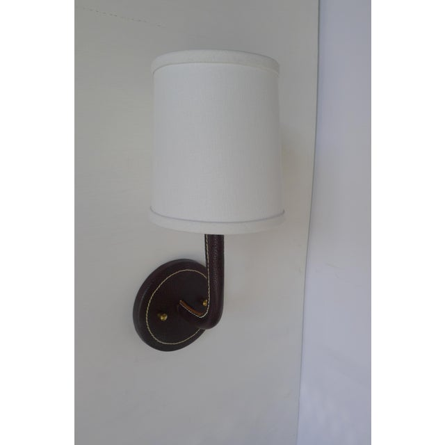 Modern Paul Marra Top-Stitched Leather Wrapped Sconce in Brown For Sale - Image 3 of 7