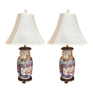 Imari Style Lamps on Wood Bases, 20th Century - A Pair For Sale
