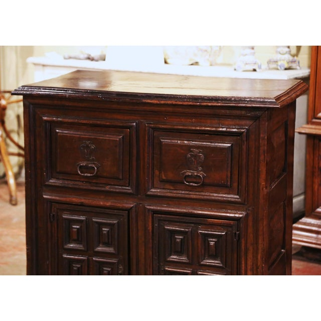 Spanish 17th Century Spanish Catalan Carved Walnut Two-Door Buffet Cabinet For Sale - Image 3 of 13