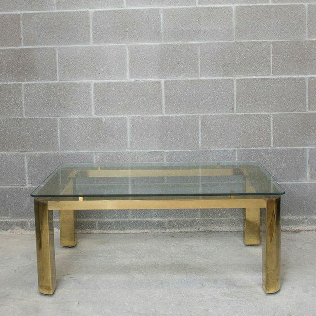 Pace Mid-Century Modern Brass and Floating Glass Cocktail / Coffee Table - Image 5 of 6