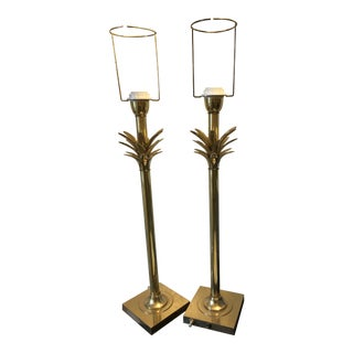 Vintage Hollywood Regency Brass Palm Tree Lamps in the Manner of Maison Jansen - a Pair For Sale