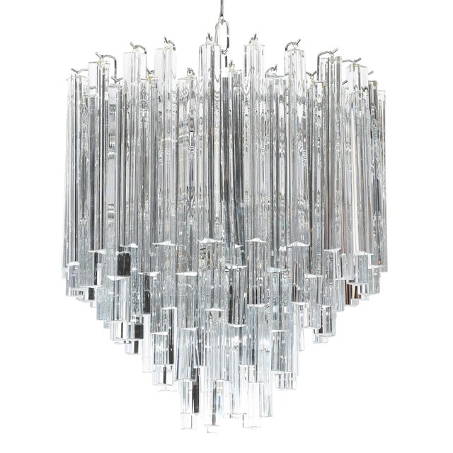 1970's VINTAGE CAMER TIERED ITALIAN CRYSTAL CHANDELIER For Sale