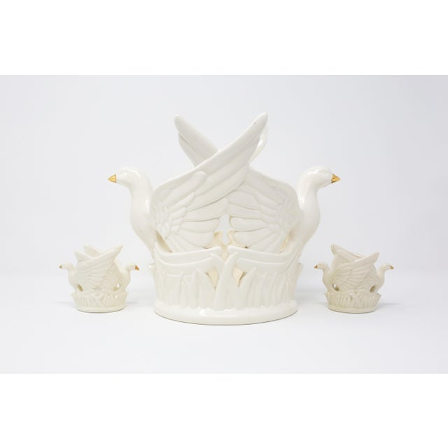 Ceramic Ceramic Flying Doves Candle Holders - Set of 3 For Sale - Image 7 of 12