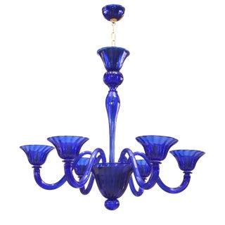 Italian Venetian Murano Blue Glass Chandeliers For Sale
