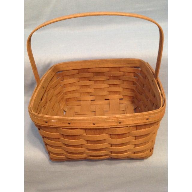1970s Vintage Longaberger Handwoven Square Basket For Sale - Image 12 of 12