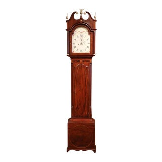 18th Century English Carved Mahogany Tall Case Clock For Sale