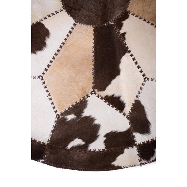 """Cowhide Patchwork Round Area Rug - 6'6""""x6'6"""" - Image 3 of 6"""