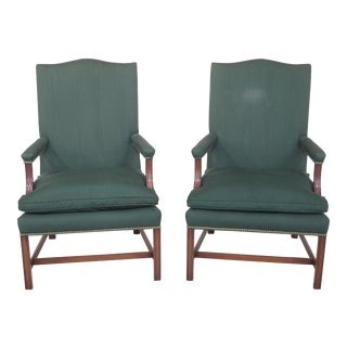Kittinger U570 Garvin Open Arm Mahogany Chairs - a Pair