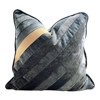 Hand Pieced Grey and Yellow Diagonal Stripe Down Throw Pillow For Sale