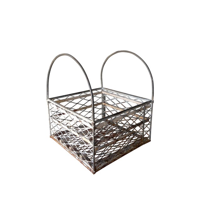 Vintage Metal Basket with Handles - Image 1 of 6