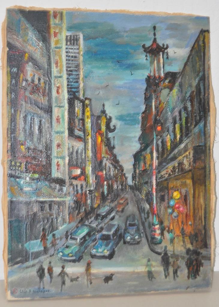 1950s Vintage San Francisco Chinatown Painting By Celia B. Michelena    Image 2 Of 9