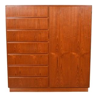 Danish Teak Door Dresser with Adjustable Shelves & Drawers For Sale