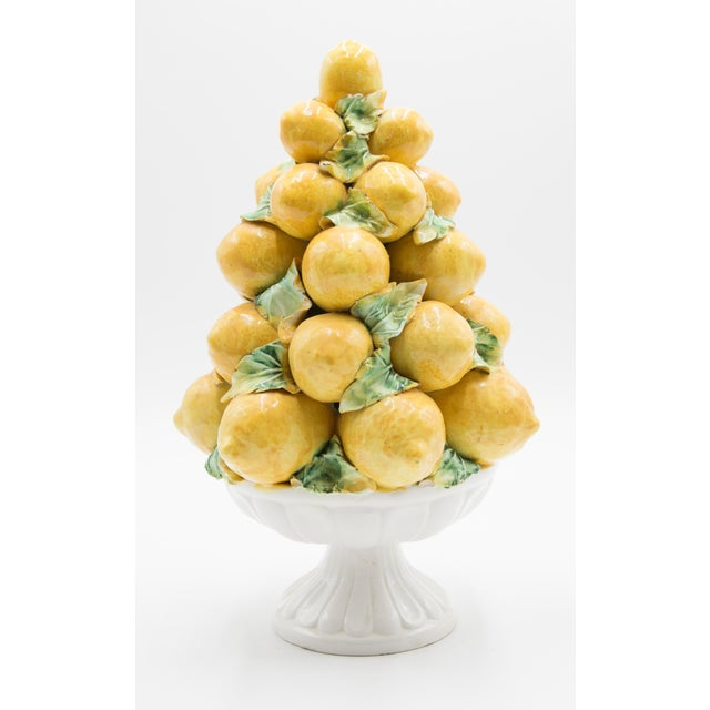 Ceramic Vintage Italian Majolica Lemon Topiary For Sale - Image 7 of 7