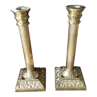 Mount Vernon Virginia Metal Crafters Brass Candlesticks - A Pair For Sale