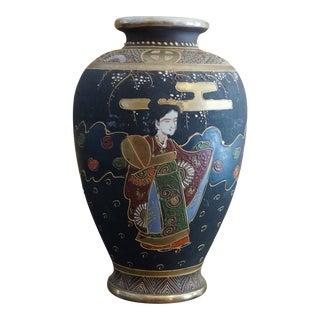 Japanese Satsuma Moriage Vase, Mejii Pottery, Signed For Sale