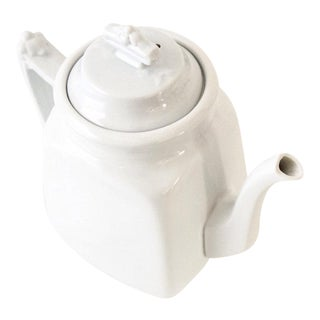 Antique White Ironstone Teapot with Lid, J & G Meakin, Made In England