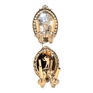Venetian Italian Etched Mirrored Candle Wall Lights or Sconces, a Pair, Two-Arm For Sale